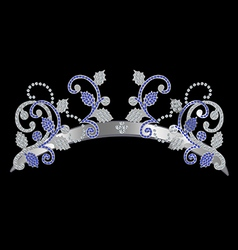 Decoration silver with blue stones on a dark vector