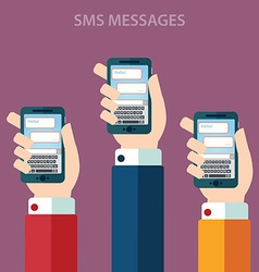 Hands holding smartphone with sms call and send vector