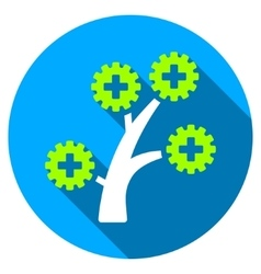 Medical technology tree flat round icon with long vector