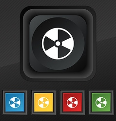 Radioactive icon symbol set of five colorful vector