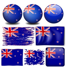 New zealand flag in different designs vector