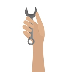 Human hand and grey tool graphic vector