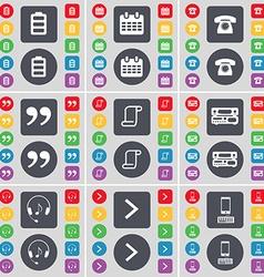 Battery calendar retro phone quotation mark scroll vector