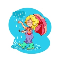 Cartoon kid playing in the rain vector image vector image