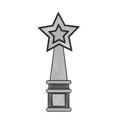 Color blurred stripe of trophy with symbol star vector