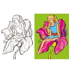 Colouring book of cirl sit on flower vector