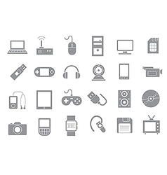 Computer technologies gray icons set vector image