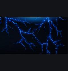 Dark sky with blue lightenings vector
