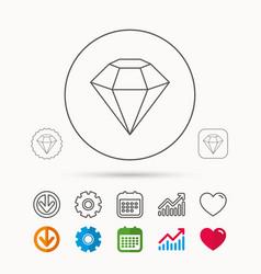 Diamond icon brilliant gemstone sign vector