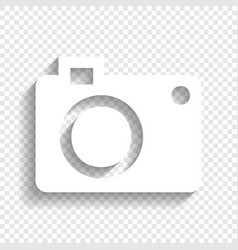 Digital camera sign white icon with soft vector