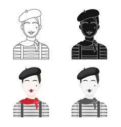 French mime icon in cartoon style isolated on vector