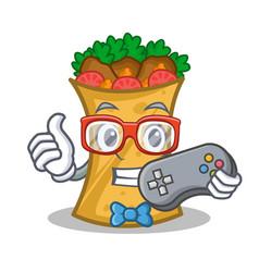 Gamer kebab wrap character cartoon vector
