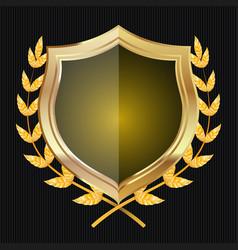 Golden shield with laurel wreath vector