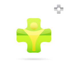 Green medical cross logo with human body shape vector