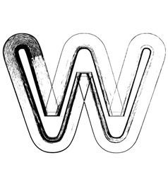 Grunge Font letter w vector image vector image
