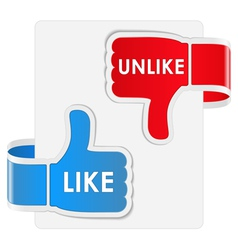 like and unlike labels vector image vector image