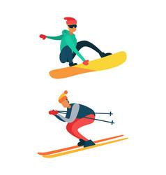 Man snowboarding riding down on skis winter sport vector