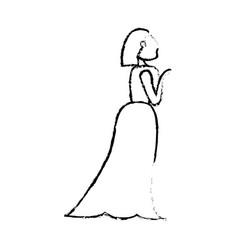 portrait woman bride image sketch vector image vector image