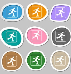 Roller skating symbols multicolored paper stickers vector