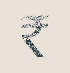 Rupee symbol grunge style icon vector