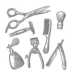 Set tool for barbershop black vintage vector