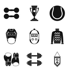 Sport industry icons set simple style vector