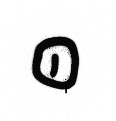 Sprayed o font graffiti with leak in black vector