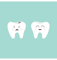 Tooth icon healthy smiling tooth crying bad ill vector