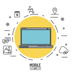 White background poster of mobile app with laptop vector