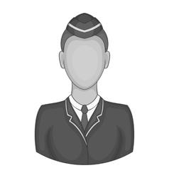 Woman train conductor icon black monochrome style vector