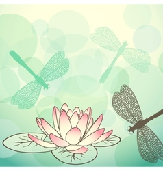 Calm lake background with lotus flower and vector image