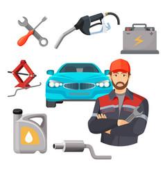 car service set worker near expensive automobile vector image