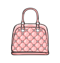 Trendy leather pink bag isolated vector