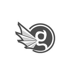 Letter g circle with gargoyle wing style vector