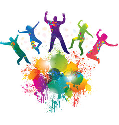 Background with jumping and dancing people vector