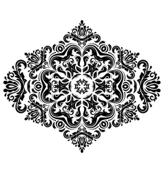 Damask pattern orient ornament black and vector