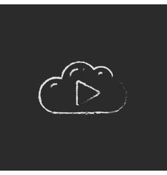 Cloud with play button icon drawn in chalk vector