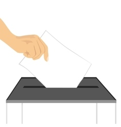 A hand putting paper in ballot box vector