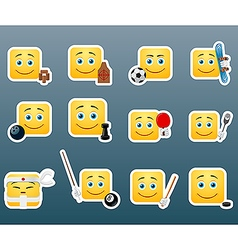 Sport smile stickers set vector image