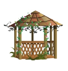 Cozy wooden gazebo with flowers landscape decor vector