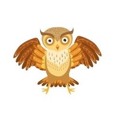 Angry owl cute cartoon character emoji with forest vector