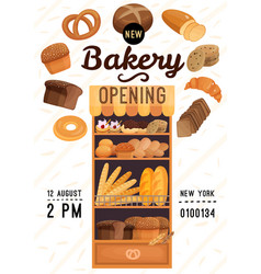 Bakery opening poster vector