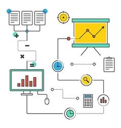 Business data information analysis line vector