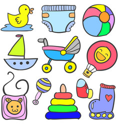 collection of element baby doodles vector image vector image