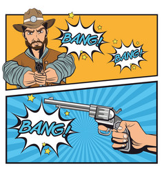 Cowboy comic bubble cartoon design vector
