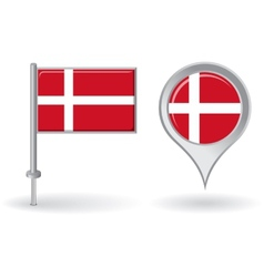 Danish pin icon and map pointer flag vector