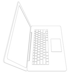 Drawing of wire-frame open laptop vector