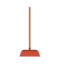 dustpan with wooden stick in colorful silhouette vector image vector image