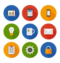 Flat Icons Set Business vector image vector image