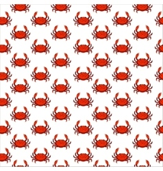 Flat red crab seamless pattern - vector